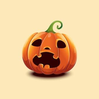 Feliz dia das bruxas. abóbora de halloween de vetor realista. abóbora de halloween de cara assustada isolada na luz de fundo. eps 10 Vetor Premium