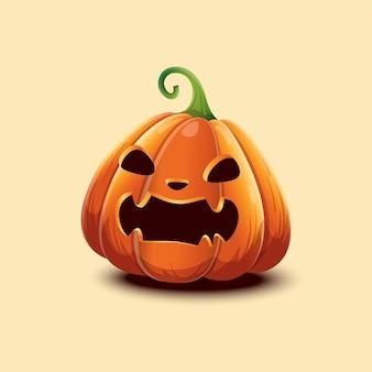 Feliz dia das bruxas. abóbora de halloween de vetor realista. abóbora de halloween de cara assustadora com raiva isolada na luz de fundo. eps 10