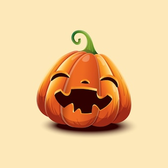 Feliz dia das bruxas. abóbora de halloween de vetor realista. abóbora de halloween de rosto feliz isolada na luz de fundo. eps 10