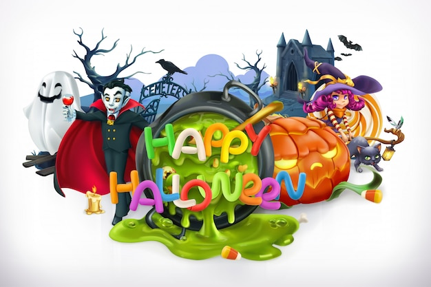 Feliz dia das bruxas. abóbora, gato, bruxa, vampiro, cripta, letras, emblema vetorial