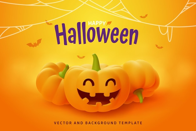 Feliz dia das bruxas, abóbora smilling jack-o'-lantern em fundo laranja, vetor eps10.