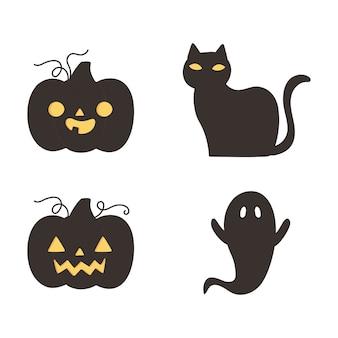Feliz dia das bruxas, abóboras escuras, gato e fantasma, travessura ou travessura, ilustração vetorial de celebração de festa