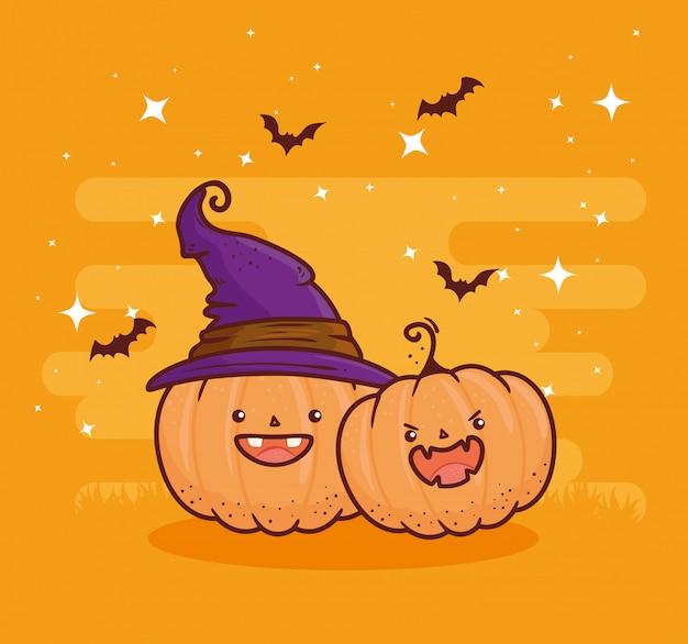 Feliz dia das bruxas, abóboras fofas com chapéu de bruxa e morcegos voando design de ilustração vetorial