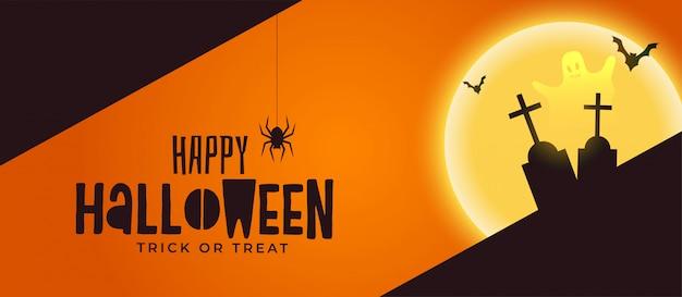 Feliz dia das bruxas assustador banner com sepultura e fantasma