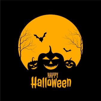 Feliz dia das bruxas assustador design de cartão preto e amarelo