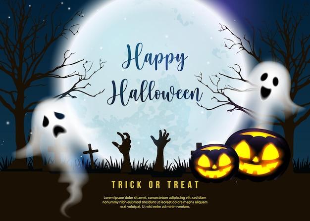 Feliz dia das bruxas assustador fantasma do espírito da lanterna de jack com fundo de cemitério de noite de lua cheia