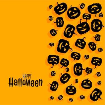 Feliz dia das bruxas assustador fundo de cartão de abóbora assustador