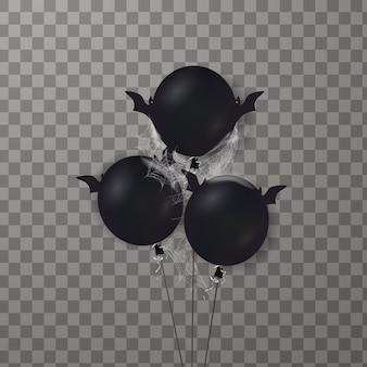 Feliz dia das bruxas. bando de brilhantes, balões de férias a voar. balão de ar assustador.