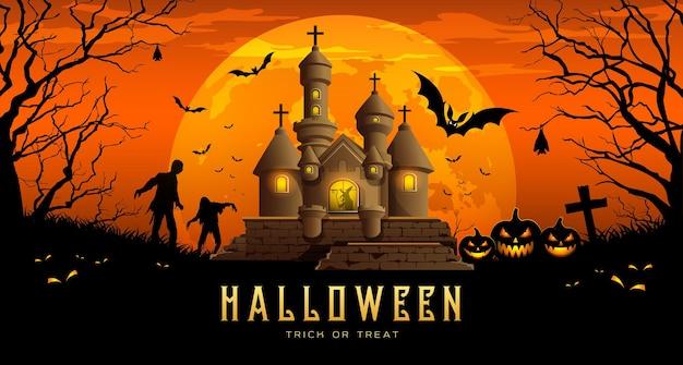 Feliz dia das bruxas banner castelo e abóbora com morcego em fundo laranja noite de lua.