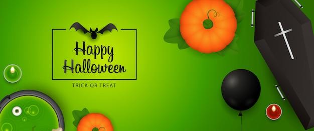 Feliz dia das bruxas banner design com abóbora, caixão, morcego, poção