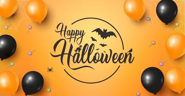 Feliz dia das bruxas banner horizontal com letras de halloween na laranja