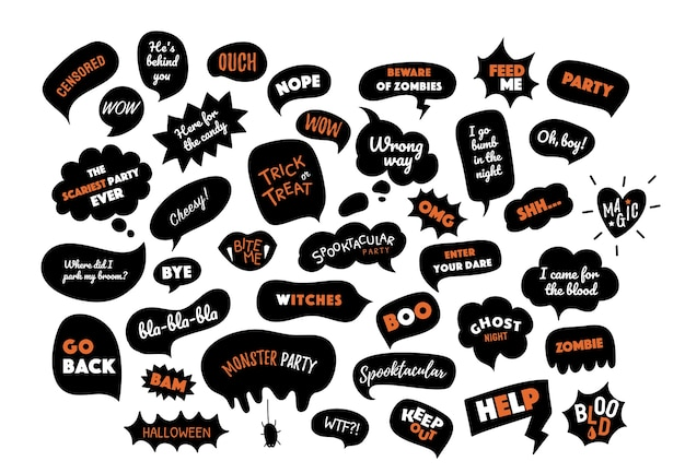 Feliz dia das bruxas. bolhas do discurso com texto. travessuras ou gostosuras, festa, boo, uau, ajuda, zumbis, sangue, mordida etc.