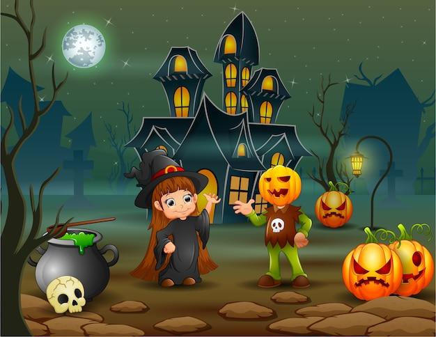 Feliz dia das bruxas bruxa e abóbora máscara na frente da casa