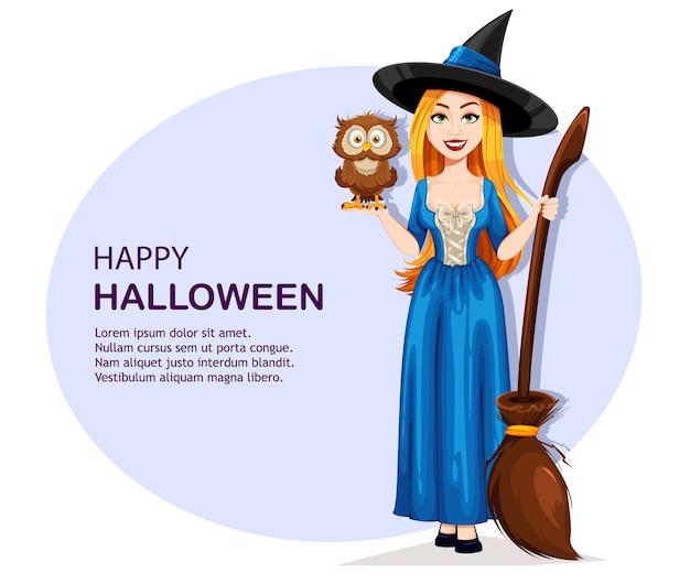 Feliz dia das bruxas. bruxa linda segurando uma coruja