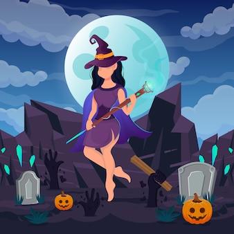 Feliz dia das bruxas. bruxa mulher usa vestido extravagante e varinha de diamante para fazer doçuras ou travessuras ao luar. ilustração vetorial