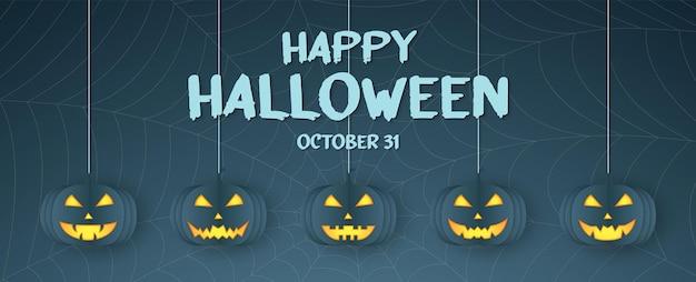 Feliz dia das bruxas, cabeça de abóbora pendurada, teia de aranha, fundo de teia de aranha com texto