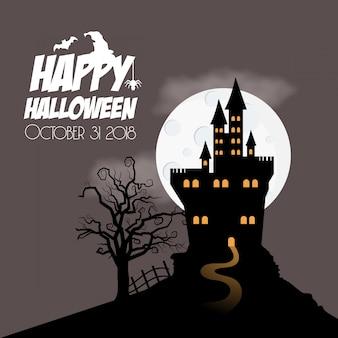 Feliz dia das bruxas caçado em casa e árvore
