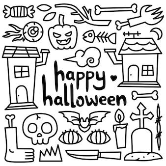 Feliz dia das bruxas cartão com estilo doodle de elementos e decoração