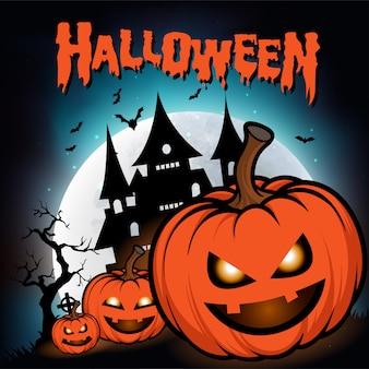 Feliz dia das bruxas cartão com noite com lua cheia e abóboras assustadoras