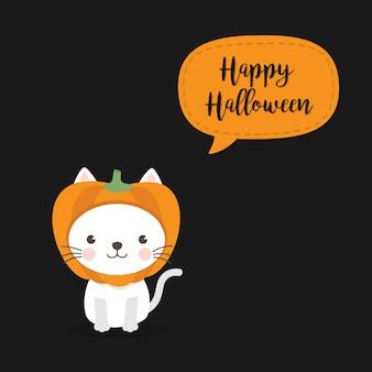 Feliz dia das bruxas cartão com um gato bonito usando chapéu de abóbora.