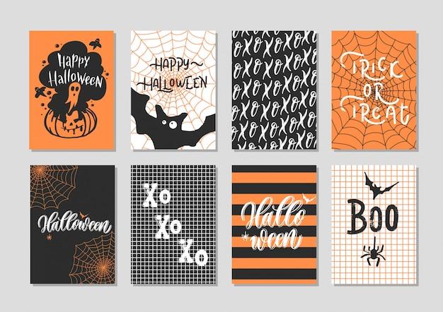Feliz dia das bruxas cartão conjunto - mão lettering cartão.