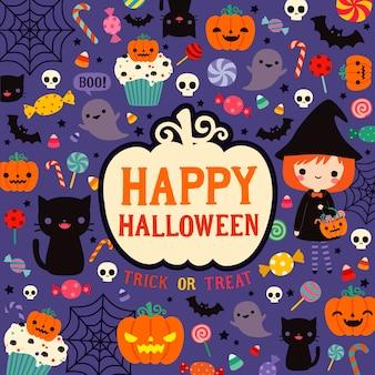 Feliz dia das bruxas cartão de dia