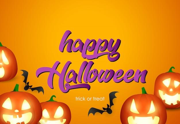 Feliz dia das bruxas cartaz design com cabeças de abóbora e morcegos voando