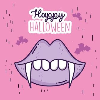 Feliz dia das bruxas celebração boca dentes drácula