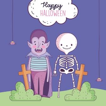Feliz dia das bruxas celebração meninos drácula e esqueleto cemitério