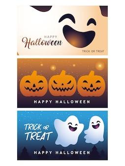 Feliz dia das bruxas coleção de design de banners, feliz feriado e assustador