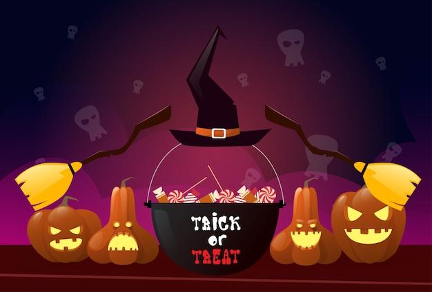 Feliz dia das bruxas com abóboras e bruxa vassoura e pote