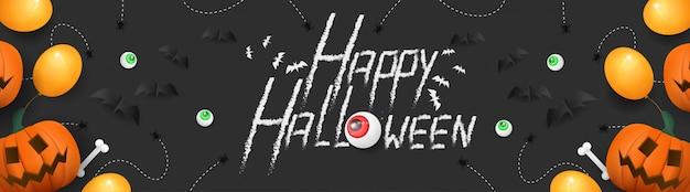 Feliz dia das bruxas com banner 3d de abóbora