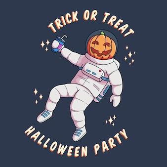 Feliz dia das bruxas com cabeça de abóbora de astronauta segurando um copo de refrigerante. melhor para banner e pôster