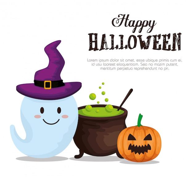 Feliz dia das bruxas com caldeirão e pumpking