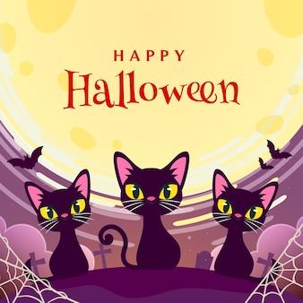 Feliz dia das bruxas com cartão de felicitações de gatos pretos