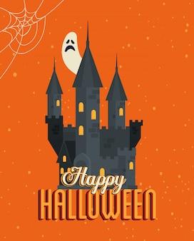 Feliz dia das bruxas com castelo assombrado