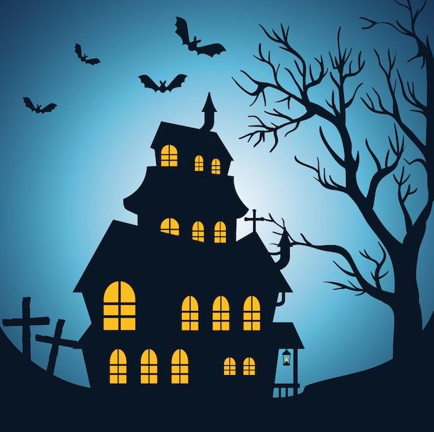 Feliz dia das bruxas com castelo encantado