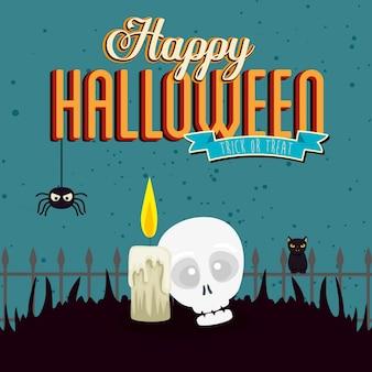 Feliz dia das bruxas com caveira e ícones