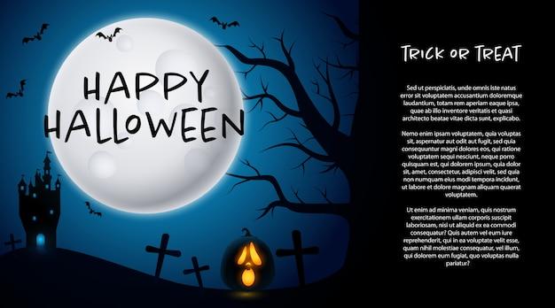 Feliz dia das bruxas com cemitério e lua