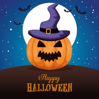Feliz dia das bruxas com chapéu de abóbora e bruxa