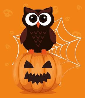Feliz dia das bruxas com coruja e abóbora