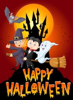 Feliz dia das bruxas com criança e fantasma