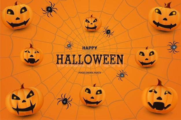 Feliz dia das bruxas com decoração de abóbora laranja