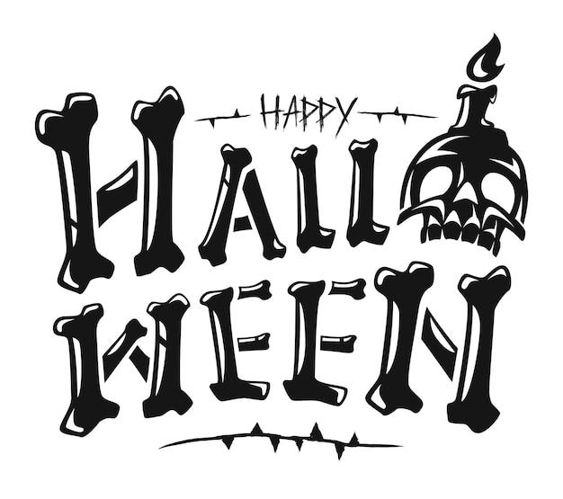 Feliz dia das bruxas com design de banner de texto, vetor