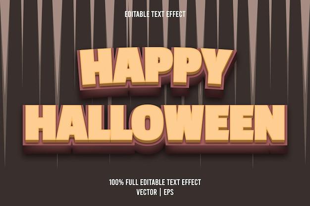 Feliz dia das bruxas com efeito de texto editável, estilo retro, cor marrom