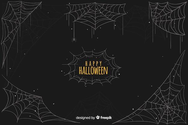 Feliz dia das bruxas com fundo de teia de aranha