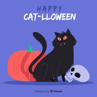 Feliz dia das bruxas com gato bonito mão desenhada