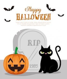 Feliz dia das bruxas com gato preto e abóbora