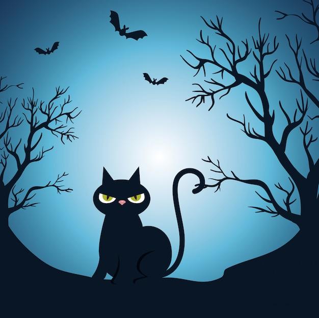 Feliz dia das bruxas com gato preto no meio da noite