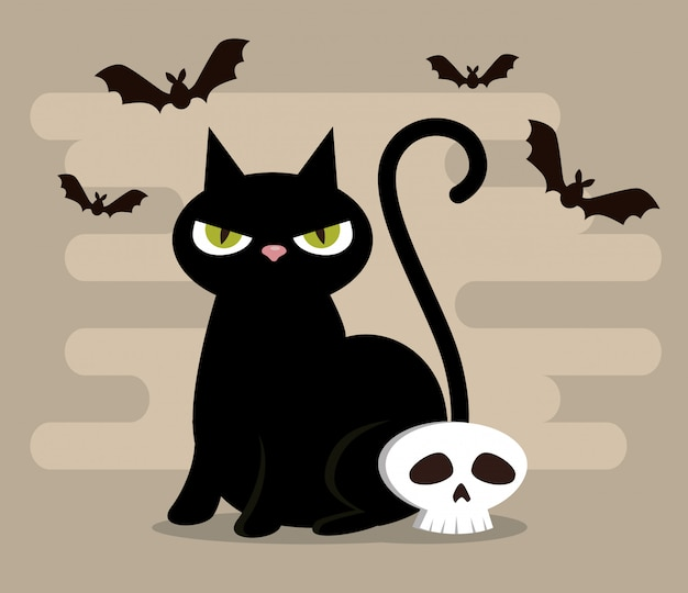 Feliz dia das bruxas com gato preto